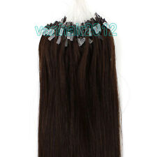 """100s Silicone Micro Ring Easy Loop Remy Human Hair Extensions Dark Brown 16""""-26"""""""