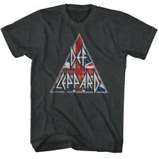 Def Leppard 80s Heavy Metal Band Rock n Roll Triangle Adult T-Shirt British Flag