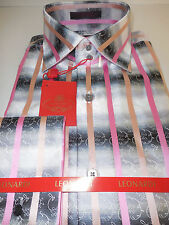 Mens Leonardi High Collar Double Cuff Shirt Cool Gray Pink Stripe Style 314