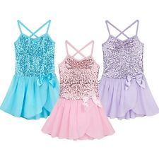 New Girls Party Leotard Ballet Costume Tutu Skirt Dance Sequined Dress Size 2-8