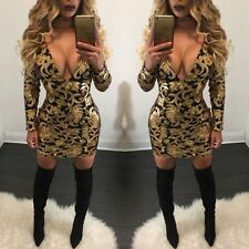 Women Sexy Long Sleeves V-Neck Sequin Bodycon Clubwear Party Cocktail Mini Dress