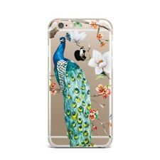 Peacock Flowers Floral TPU Rubber Silicone Clear Case Cover Back Apple iPhone