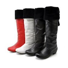 Womens lady  pu Leather Low Cuban Heel Knee High Boots Shoes US plus size