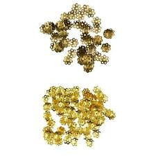 100pcs 8mm Flowers Alloy Charms Loose Spacer Beads Caps Gold Bronze