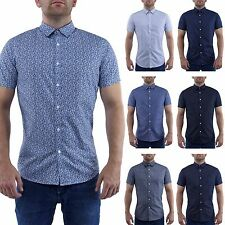 New Mens Summer Short Sleeve Shirts Casual Cotton Formal Slim Fit Shirt