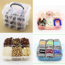 Multi Use Transparent Plastic Jewelry Bead Storage Box Container 3-Layers Case