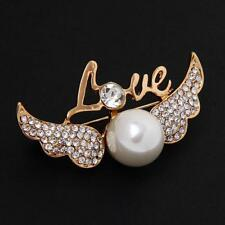 Fashion Love Angell Wing Pearls Design Brooch Pins Jewelry Gift
