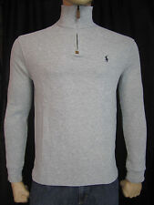 NWT Men's Polo Ralph Lauren French Rib Half Zip 1/2 Pullover Sweater Grey S