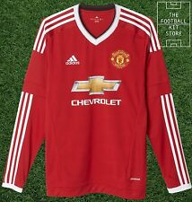 Manchester United Home Shirt - Official Adidas Man Utd Long Sleeved Shirt - Mens