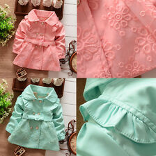 Baby Girl Spring Fall Winter Outerwear Solid Lace Flower Cotton Wind Jacket Coat