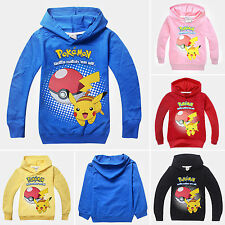 Kids Girls Boys Hoodies Long Sleeve POKEMON GO Cartoon Childrens Costume 3-10Y