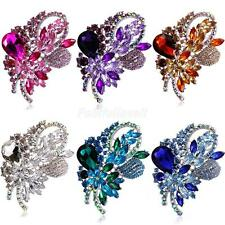 Elegant Diamante Flower Brooch Pins Party Jewelry Bridal Bouquet DIY 6 Colors