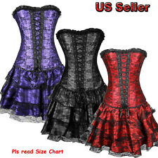 Women's Sexy Burlesque Lace Up Bustier Black Red Purple Corset Set with Dress TF