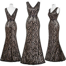 New Sequins Women Mermaid Sexy V Neck Bridesmaid Evening Party Ball Gown Dresses