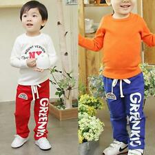 Kid Baby Boys Girls Cotton Rainbow Pattern Long Pants Casual Trousers PP Bottoms