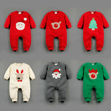 New Baby Boy Girl Warm Infant Romper Jumpsuit Bodysuit Cartoon Christmas Clothes