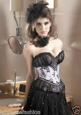 New Ladies Girls Sexy White-Black Lace Overlay Corset Bustier Top