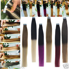 "2-tone obmre Straight Remy Human Hair Extensions PU Tape in 16"" 18"" 20"" 22"" 24"""