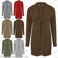 Ladies Women's Long Sleeve Cable Knitted Melange Yarn Open Front Cardigan Top