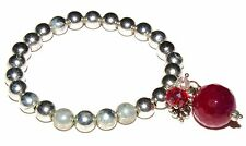 Silver Ball Bracelet with Drop - Silver or Red Disco Ball & Beads (RRP £9.99)