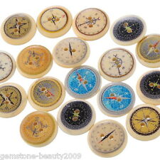 Wholesale HOT! Wood Buttons Mixed Color Compass Pattern 2-hole Sewing Scrapbook