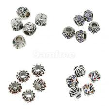 5Pcs silver big hole Crystal spacer beads fit Charm European Bracelet Findings