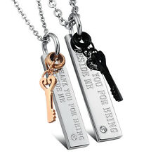 His Hers Stainless Steel Key Charms Pendant Matching Set Necklace for Couples