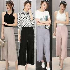 Womens Trendy Pleated Chiffon Wide-leg Casual Trousers Culottes Long Loose Pants