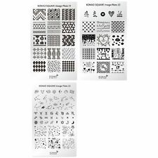 Genuine Konad Stamping Nail Art Square Image Plate 21 22 23 Stainless Steel