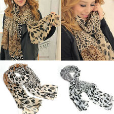 Fashion Women's Long Soft Wrap Lady Shawl Silk Leopard Chiffon Scarf Shawl  hs