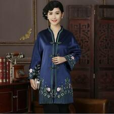 Chinese Women's silk embroidery long jacket /coat Cheongsam Sz: 10 12 14 16 18