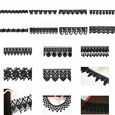 "5/8"" 0.75 1"" 1.25"" 2"" 2.5"" 3"" Variety Black Embroidery Venice Lace Trim by Yard"