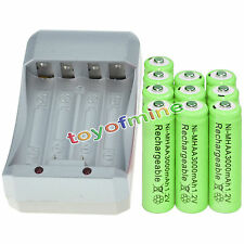 10x AA 3000mAh 1.2V Ni-MH GRE Color Rechargeable Battery Cell +Charger