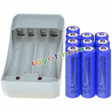 10x AA 3000mAh 1.2V Ni-MH Blue Color Rechargeable Battery Cell +Charger