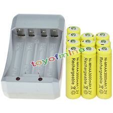 10x AA 3000mAh 1.2V Ni-MH YEL Color Rechargeable Battery Cell +Charger
