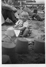 Vintage Old Photograph Black & White Photo Young Child Sandcastles Beach 1950s
