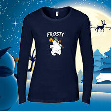 Frosty Women's Christmas T-Shirt Holiday Christmas L/S  Frosty the Snowman Tee