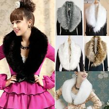 Women Luxury Faux Fur Collar Shawl Wrap Winter Warm Neck Scarf for Ladies BLLT