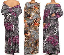 Plus On Off Shoulder Reversible Open Back Maxi Dress Animal Leopard Chain Print