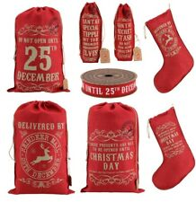 Large Hessian Christmas Santa Sacks Do Not Open Reindeer Stocking Gift Bag