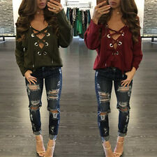 Sexy Women Lacing Up Bandage Deep V Neck Clubwear Tops Blouse T Shirts B