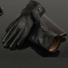 MENS TOUCH SCREEN REAL LEATHER GLOVES VELVET LINED DRIVING WINTER WARM XMAS GIFT