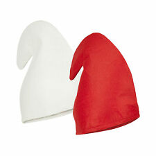 White or Red Fancy Dress Christmas Elf / Gnome / Dwarf Hat