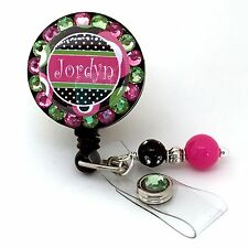 PERSONALIZED CIRCLES & DOTS BLING RETRACTABLE ID BADGE HOLDER LANYARD