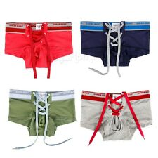 Sexy Mens Lace-up Boxers Briefs Bikini Lingerie Soft Underwear Underpants Shorts