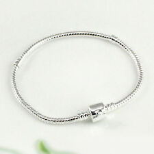 Women's Silver Plated Snake Chain Barrel Clasp Charms Bangle Bracelet Affordable