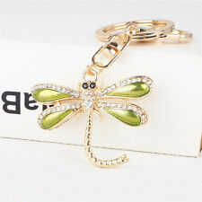 Cute Dragonfly Wing Charm Pendant Crystal Purse Bag Key Ring Chain Party Gift