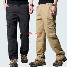 Mens casual cotton work straight leg cargo pocket pants trousers size 29-38 new