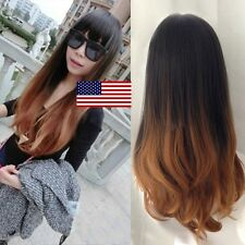 Long Full Wig Natural Straight Curly Wavy Ombre Hair Cosplay Party Real Thick