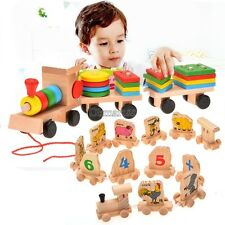 Toddle Baby Kid Wooden Toys Stacking Train Geometric Stacker Building Blocks OK